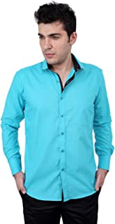 Zeal 100% Cotton Dark Turquoise-Black Casual-Formal Shirt