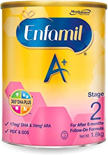 Enfamil A+ Stage 2 Follow-on Milk Formula 360 DHA+ , 6 months onwards, 1.8kg