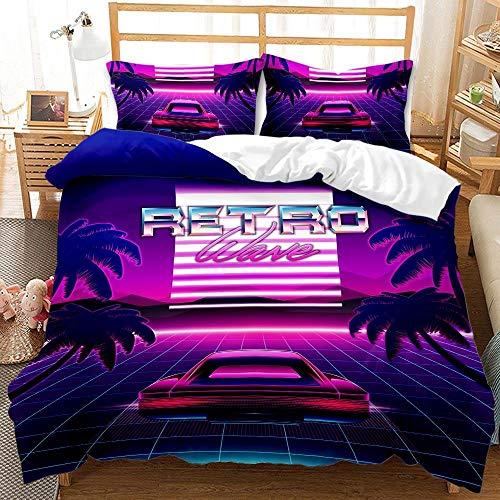 Hermosa Hawaii Twin Queen King Juego de Cama para niños Juegos de tamaño Completo de Lujo Juego de edredón de Cama Rosa Funda nórdica Funda de Almohada para dormitorio-BFB22_EE. UU. Completo 3 Piezas