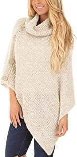 NREALY Sweaters Women's Knit Turtle Neck Poncho with Button Irregular Hem Pullover Sweaters