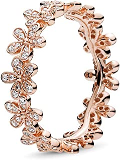 Dazzling Daisy Band, Ring, Rose & Clear CZ 180934CZ