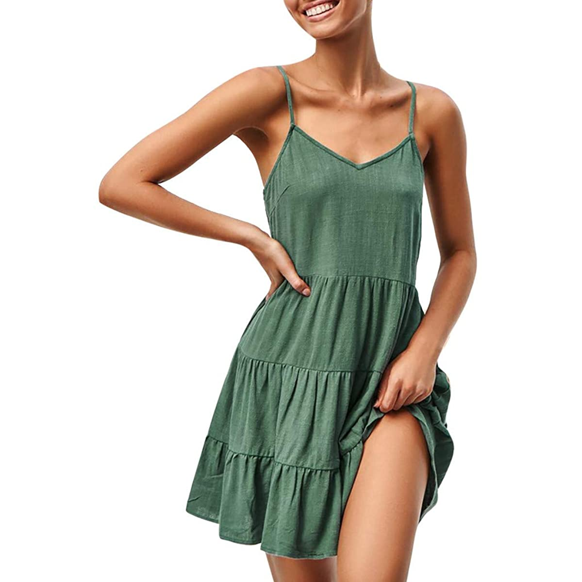 Womens Summer Halter Deep V Neck Sexy Patchwork Mini Short Dresses