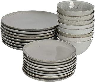 ProCook Oslo Coupe - Service de Table en Grès - 24 Pièces/8 Personnes - Grande Assiette Plate/Assiette à Dessert/Bol - Gla...