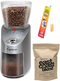 Capresso 575.05 Infinity Conical Burr Grinder, Stainless Steel Includes Capresso East Coast Blend Whole Bean Coffee and Coffee Grinder Dusting Brush