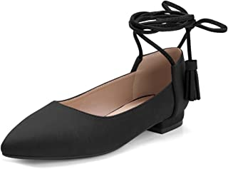 Women's Pointed Toe Tassel Lace Tie Up Flats Flat Shoes
