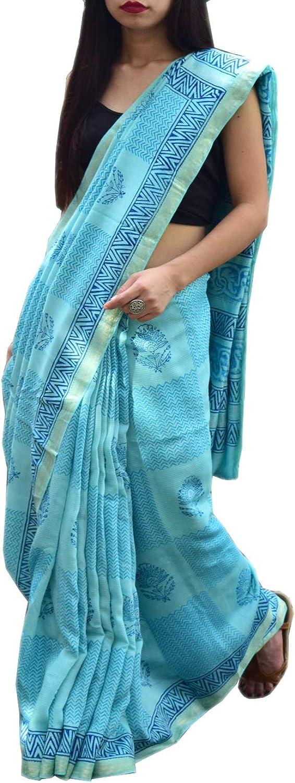 GiftPiper Maheshwari Block Print Saree Handloom  Turquoise