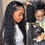 Water Wave Lace Front Wigs Human Hair for Black Women 150% Density Brazilian Wet and Wavy Virgin Human Hair Wigs 4x4 Curly Lace Closure Wig Human Hair Pre Plucked with Baby Hair Natural Black 22inch