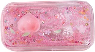 Cartoon Peach Pencail Case for Girls Transparent Quick Sand Stationery Pen Bag Large Capacity Portable Cosmetic Makeup Pouch