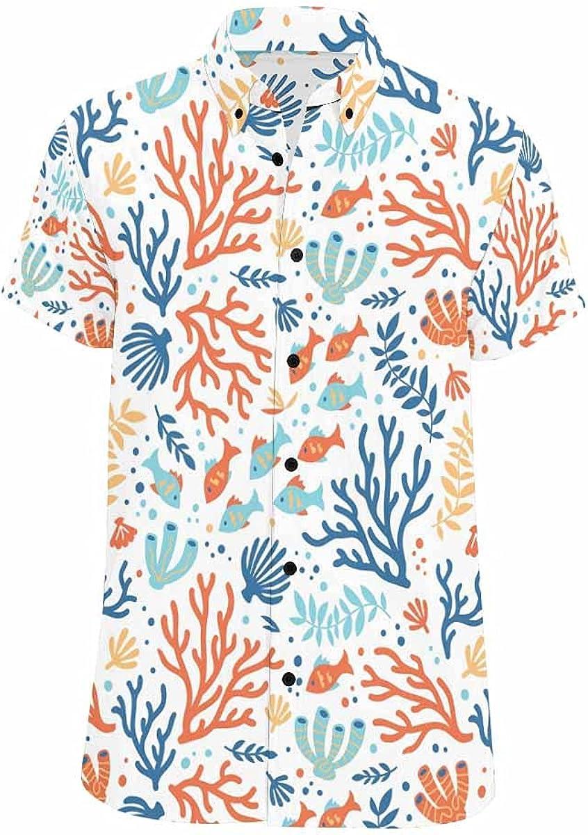 InterestPrint Sarfish Anchor Wave Men's Summer Beach Spread Collar Tops Hawaiian Casual Shirt