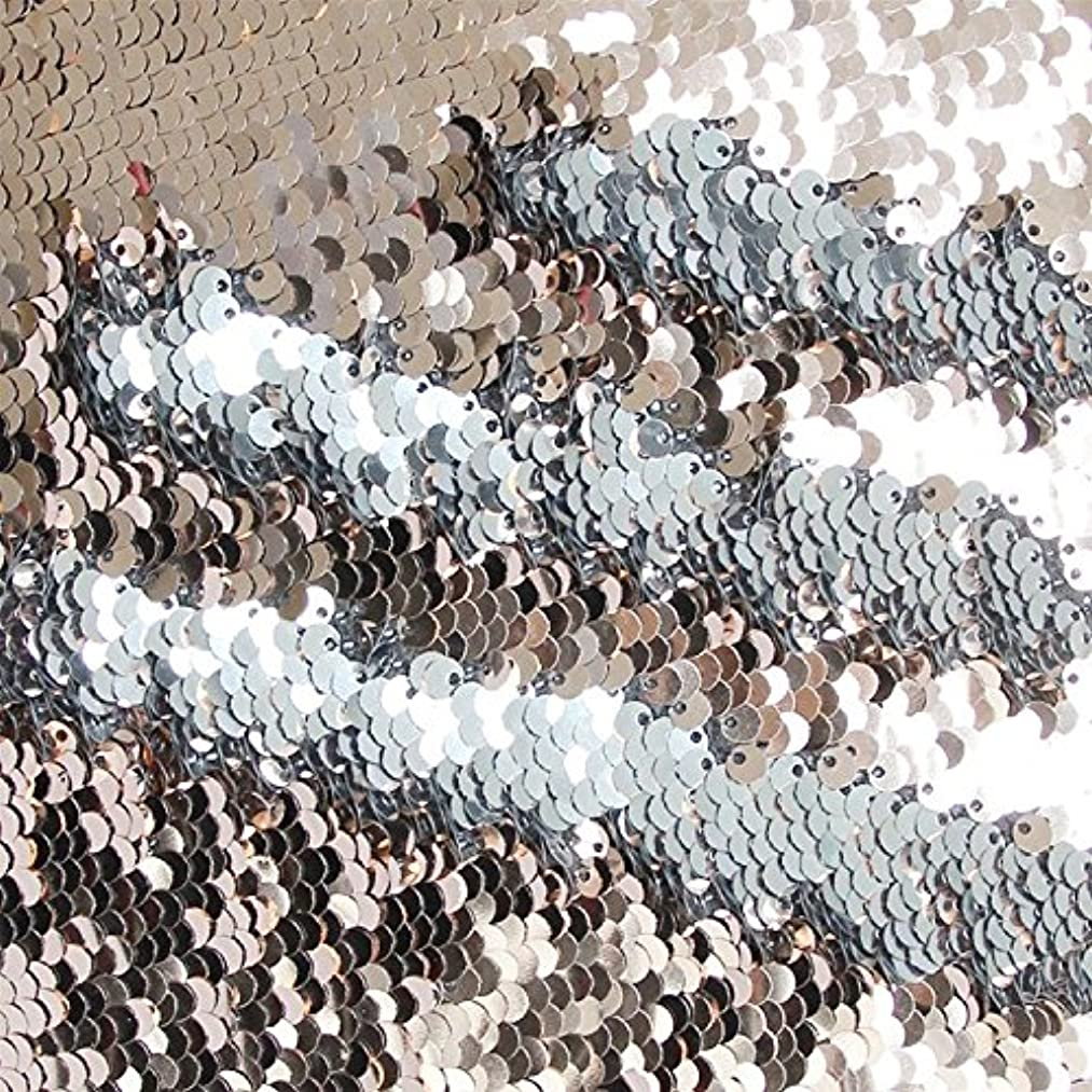 TRLYC Double Color 1 Yard Rose Gold and Silver Reversible Sequin Fabric for Wedding Dress Reversible Sequin Pillow Fabric