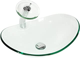 Sliverylake Modern Oval Bathroom Clear Glass Vessel Sink with Waterfall Chrome Faucet & Pop-up Drain Combo Wash Basin