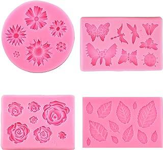 SAVITA 4pcs Moules en Silicone Fondant Comprend Fleur de Soleil Rose Feuille Papillon Dessert Ensemble de Moules en Silico...