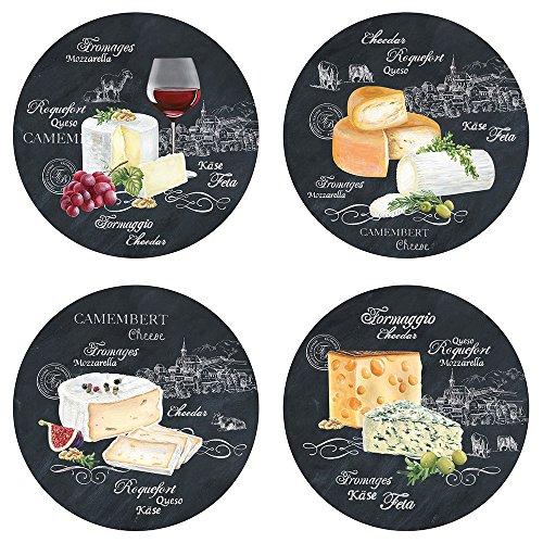 EASY LIFE 463WOCH Coffret 4 Assiettes Dessert, Porcelaine, Noir, 19 cm