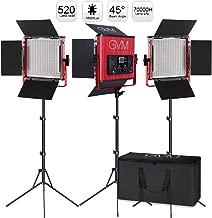 GVM Led Video Lighting Kits, 3 Pack 520 CRI/TLCI 97+ High Brightness Video Lighting with Stand Bi-Color 3200-5600K Led Light Panel for Photography Video Lighting Studio Interview Portrait