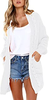 Imily Bela Womens Bohemian Knitted Ope Front Sweater Slouchy Pocket Cardigan Outfit