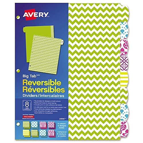 Avery Big Tab Reversible Paper Dividers for 3-Ring Binders, 8 Tabs, 1 Set, Brights (24916)