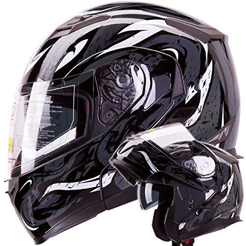 VIPER Modular Dual Visor Motorcycle / Snowmobile Helmet DOT Approved (IV2 Model #953) - Black (S)