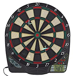 Best Sporting electronic dart board, dart board with LCD, 6 darts + spare tips, dart machine with power supply + battery operation