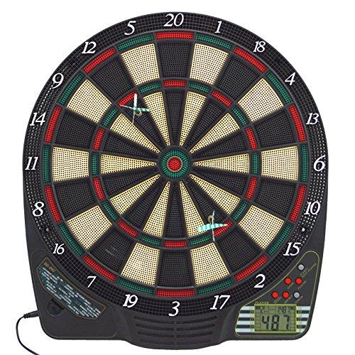 Best Sporting elektronische Dartscheibe, Dartboard mit LCD, 6 Dartpfeilen + Ersatzspitzen, Dartautomat mit Netzteil + Batteriebetrieb