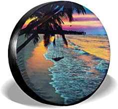 Happiness Comes in Waves Ocean Sea Beach Jeep RV Spare Tire Cover Black 32 in