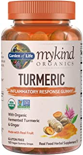 Garden of Life Mykind Organics Turmeric Inflammatory Response Gummy - 120 Real Fruit Gummies For Kids & Adults, 50Mg Curcu...