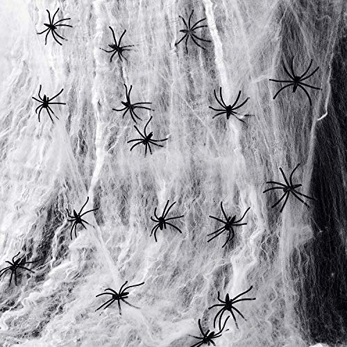 HusDow 300g/1000 sqft Halloween Spider Web and 30pk Plastic Spiders, Fake Cob Web Webbing for Haunted House Props Halloween Indoor Outdoor Decorations