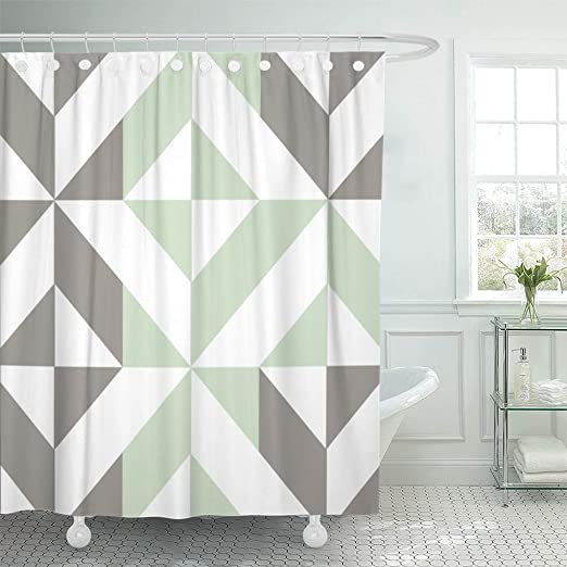 Semtomn Shower Curtain Gray Abstract Sage Green Silver Geometric Pattern Squares Modern 66 X72 Home Decor Waterproof Bath Bathroom Curtains Set With Hooks Home Kitchen