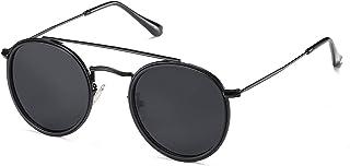 Small Retro Round Polarized Sunglasses UV400 Double Bridge Sunnies SUNSET SJ1104