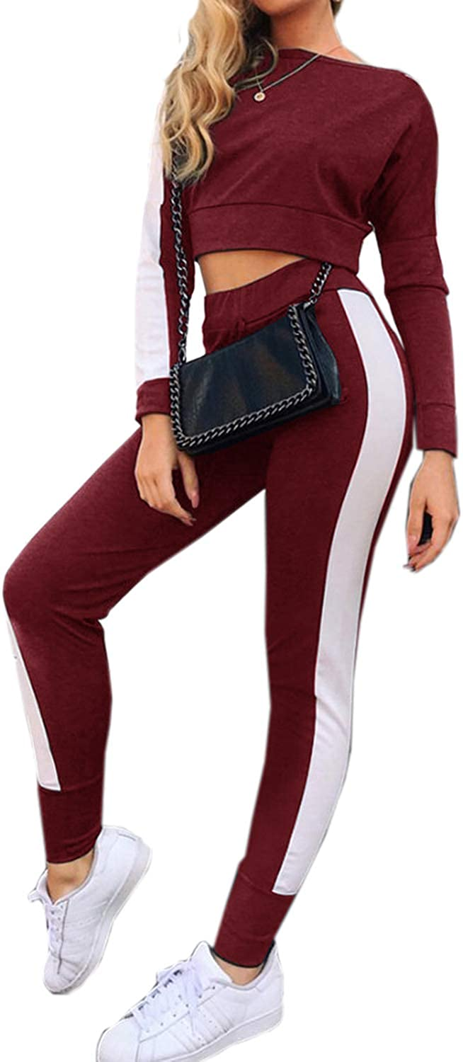 AELSON Women Sport Crop Top Long Skinny Pant Bodycon Set 2 Piece Outfit Sweatsuits