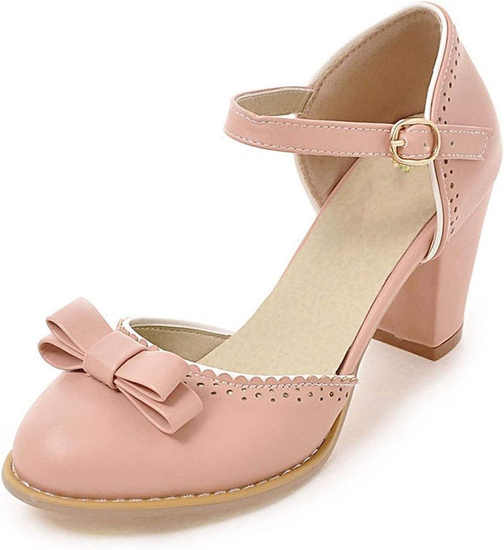 Houfeoans Women High Heels Sandals Leisure Buckle Strap Chunky Heel shoes Women Summer Bowtie Sandalias