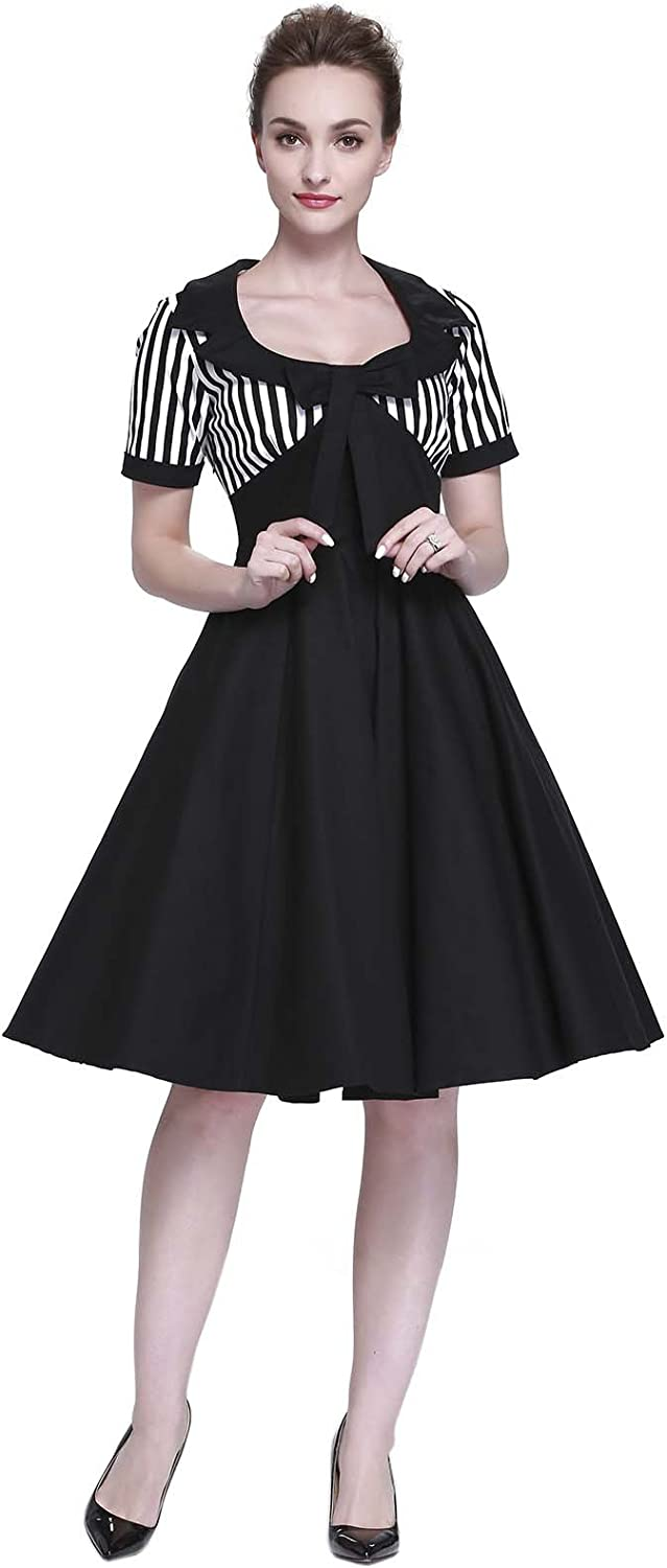Heroecol Vintage 1950s 50s Dress Style Retro Rockabiily Cocktail Bow Neck Splice