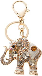 Prettyia Elephant Keychain Crystal Keyring Key Ring Chain Bag Charm Pendant Coffee