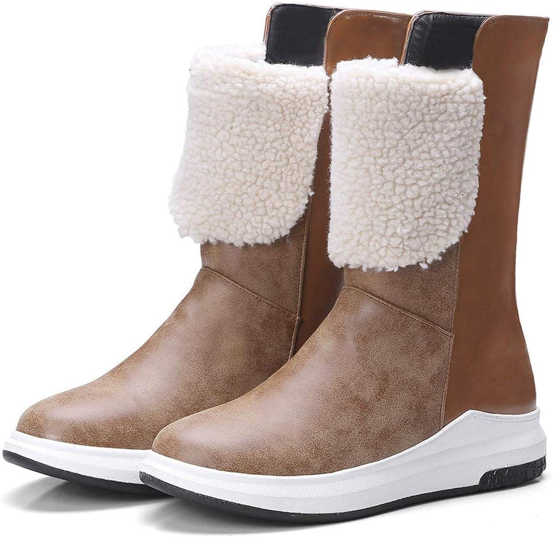 CYBLING CYBLING CYBLING Kvinnor Vattentäta snöskor vintervarma isolerade platta skor på ytterdörren Anti -Slip Mid Calf stövlar  spara på clearance