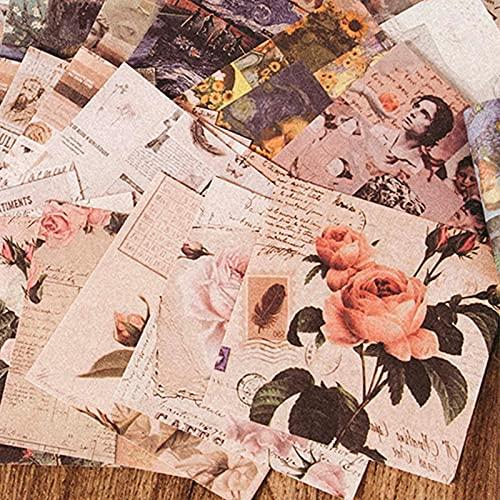 50 piezas de papel de rosas vintage para manualidades, álbumes de recortes, base de collage, etiqueta de regalo, embalaje de fotos, accesorios para decoración