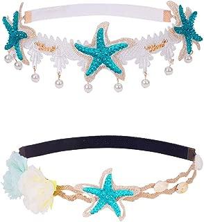 PH PandaHall 2 Strand Seashell Wave Headband Ocean Acrylic Starfish Shell Lace Headband Elastic Hairband Flowers Starfish Seashell forehead Bands Mermaid Hair Accessories