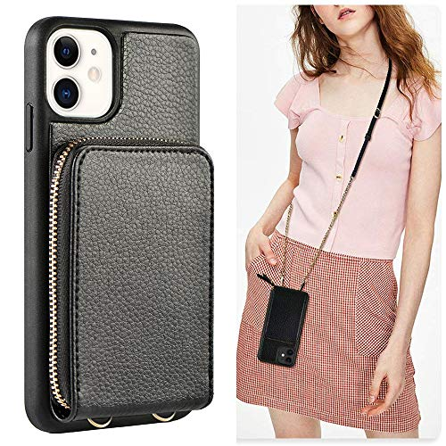 JLFCH iPhone 11 Wallet Case, iPhone 11 Crossbody Case with Zipper Credit Card Slot Holder Wrist Strap Lanyard Protective Cover Women Girl Purse for Apple iPhone 11, 6.1 inch - Black