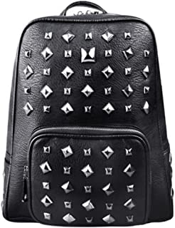 Daypacks 3D Cool Trend Metal Rivets Bag Korean Backpack Men's Shoulder Bag Womens Backpack (Color : Silver)