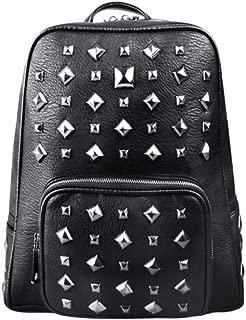 Daypacks 3D Cool Trend Metal Rivets Bag Korean Backpack Men's Shoulder Bag Womens Backpack (Color : Silver)