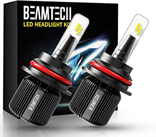BEAMTECH 9007 LED Headlight Bulb,CSP Chips 8000 Lumens 6500K Xenon White Conversion Kit of 2 All in One Plug and Play
