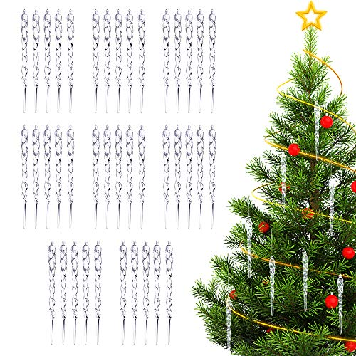 ASANMU Eiszapfen Weihnacht Deko, 40 Stück Eiszapfen zum Anhänger Schneeflocke Christbaumschmuck Eiszapfen Hängende DIY Weihnachtsbaum Anhänger für Weihnachten Fenster Hochzeit Party Weiß Dekoration