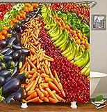 TIAQUN Duschvorhang, Obst, Gemüse, Regenbogen, Lebensmittel, viel Aubergine, Karotte, Kirsche, Banane auf Supermarkt, Duschvorhang für Badezimmer, Dekor mit Haken, 165 x 178 cm