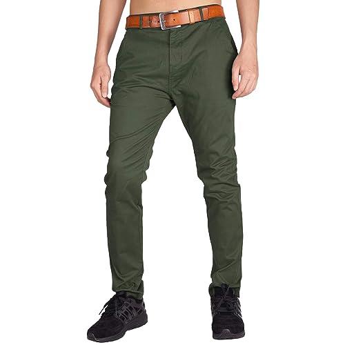 11124b09a26c17 Italy Morn Uomo Chino Casual Pantaloni Cotone Slim Fit 25 Colori