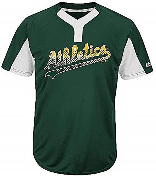 Majestic Custom (Any Name/#) or Blank Back Replica Oakland Athletics 2-Button Cool-Base Jersey