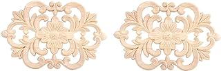 Zerodis Förpackning med 2 träsnidade hörn Onlay Applique Möbler omålade för hemdörr skåp dekoration (22 x 14 cm)