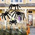 HOOJO 4 Packs Giant Spiders for Halloween with 12FT Spider Web, Include 40g Cobweb and 20 Small Spiders,Outdoor & Indoor Halloween Decor, Haunted House, Costumes Party, Halloween Yard Décor