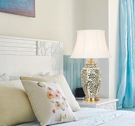 @テーブルランプ セラミックテーブルランプ - 寝室用ベッドサイドライト、豪華なプレミアムインテリアライト、コンテンポラリーなリビングルームの装飾照明(03461)