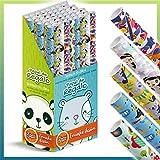 Caja-Expositor 50 Rollos de papel de regalo INFANTIL grandes 70 cm x 200 cm (2 m), 5 diseños. IDEAL para: Tiendas Navidad Reyes Cumpleaños Baby Shower Comuniones niñas niños bebes [FP Fiesta Paper]