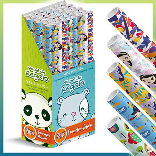 Caja-Expositor 50 Rollos de papel de regalo INFANTIL grandes 70 cm x 200 cm (2 m), 5 diseños. IDEAL para: Tiendas Navidad...