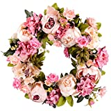 "Lvydec Artificial Peony Flower Wreath - 15"" Pink Flower Door Wreath with Green Leaves Spring Wreath for Front Door, Wedding, Wall, Home Decor"