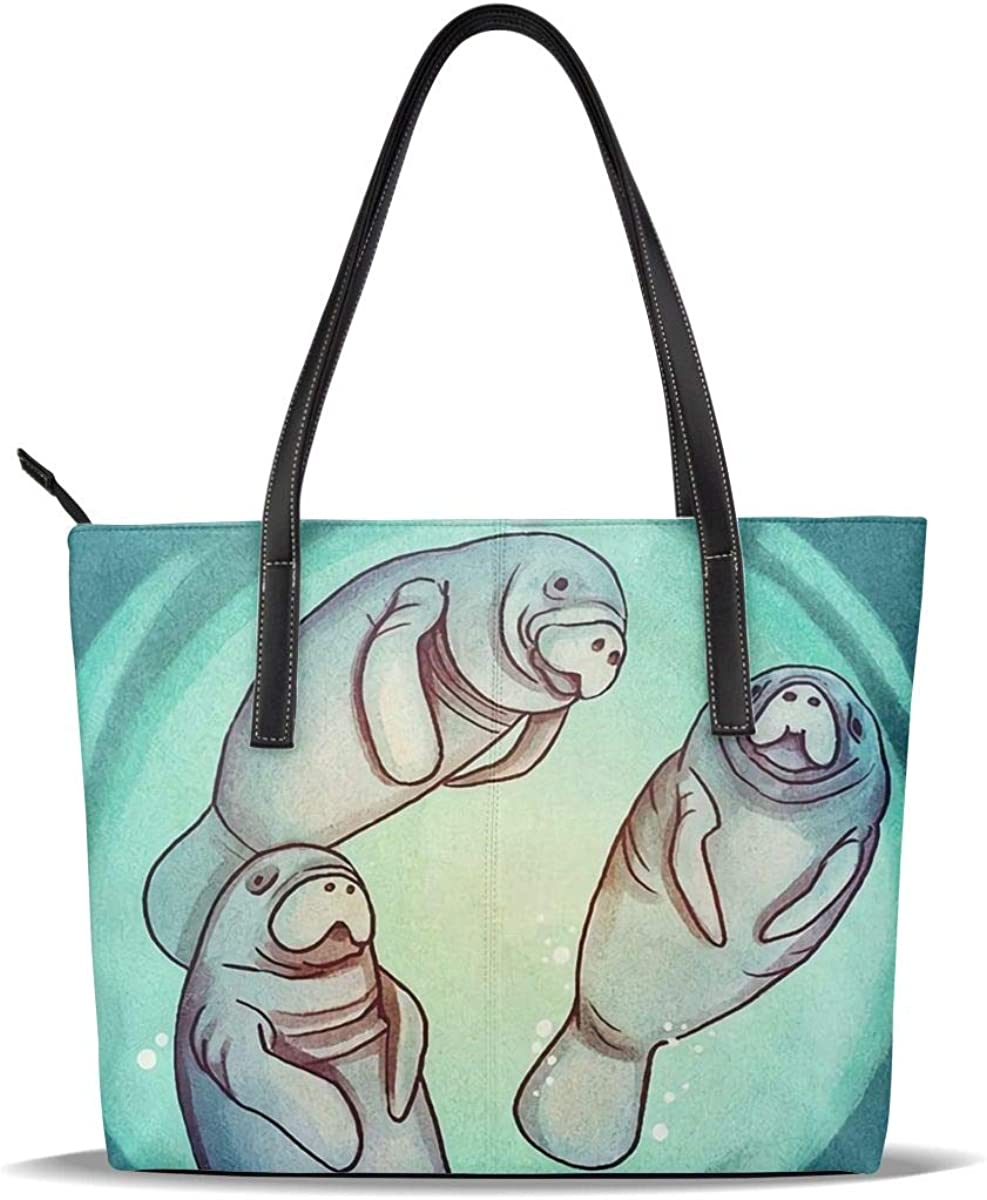 Silver Manatee Giant Funny Cute Sea Super sale Printed Pattern C PU Ranking TOP19 Leather